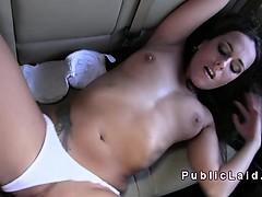 European amateur bangs in the car