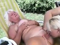Grandma And A Younger Lesbian Having Fun