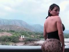 Big tits slut touching and flashing round booty