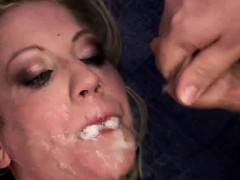 Blonde czech girl gang banged and covered in cum