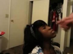 Beautiful black teen facialized - Interracial