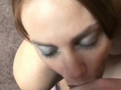 Mariah is swallowing a lucky geeks stiff cock