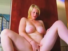 Lovely huge titty fat lady masturbating