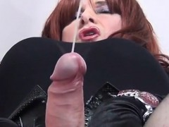 Shemale Strokes Her Cock that is Long