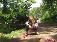 Gal pees in the park