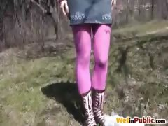 Purple tights leaking