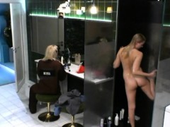 Sexy blonde is taking a shower with her great body caught o
