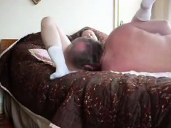 Before he fucks her a women cunt is being licked by aged ma
