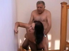 Sexy slender girl has a dirty old man banging her pussy on