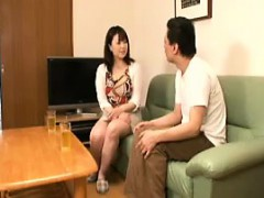 Busty Asian hottie gets on her knees to give a blowjob and