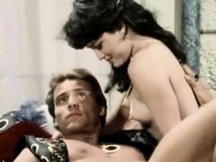 Classic scene with babes pleasuring hard cock