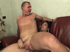 Attractive shemale Kelly delivers a huge load on a dude