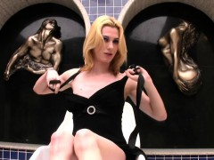 Thin Blonde Shegirl Strips And Pours Liquid All Over Herself