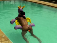 Cheerful Teen Shemale Shows Off Sexy Ass In Thongs Poolside