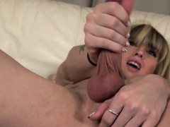 Amateur Newbie Tranny Tugging Her Hard Cock