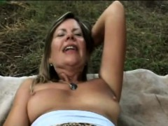 Busty Milf Samantha Gets Off Outdoors By Fingering Her Pussy
