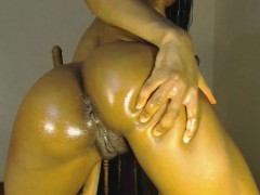 Beautiful Black Babe Oiled Fuck on Chair