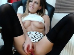 Sweet babe dildo masturbation on chair