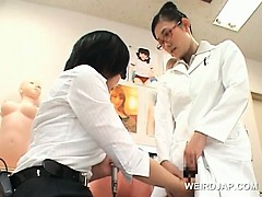 Hot asian lady doctor having her hairy twat finger checked