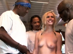 Blond Braid Hair Babe Ripped By Many Bbc On The Couch