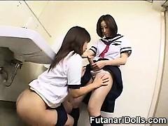 Teen Sucks a Futanari in a Toilet!