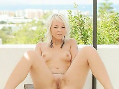 sweet blond making outdoor strip