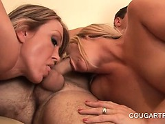Teen good looking stud fucking hot cougars in 4some