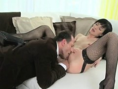 Mature in stockings with suspenders fucking on sofa