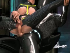 Foxy 3D Tron babe getting fucked on a motorcycle