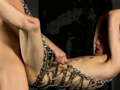 Hot gay scene Aaron finds himself tied into the metal swing,