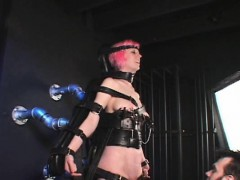 Strapped sex slave clipped and masturbated