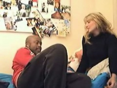 Blonde feel her first black cock