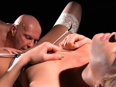 Young sex addicted babe fucks old man until orgasm