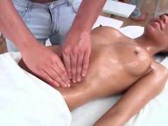 Hot brunette perfect body oil massage