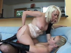 Hot blonde girls kiss and fuck
