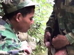 Soldier wades a river for a blowjob