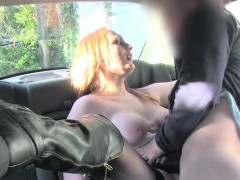 Natural busty redhead bbw in fake taxi