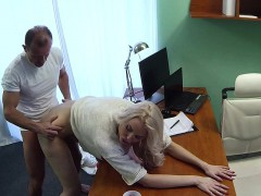 Doctor fucks tall bent over blonde