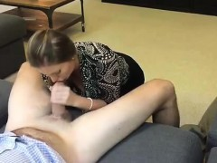 Luscious wife gets down on her knees and displays her oral