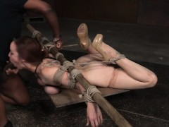 Tiedup submissive facefucked after stripping