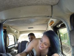 Couple fucking in left fake taxi in public