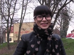 Beautiful Russian student bangs in public