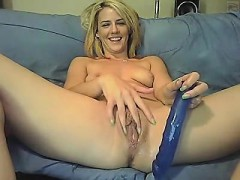 Blonde girl on dildo and cam proposition fucking her moist