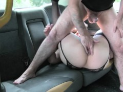 Busty passenger railed by nasty driver in the backseat