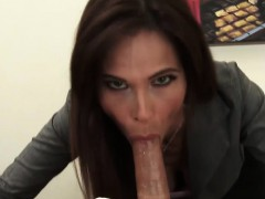 Fem boss catches guy masturbating