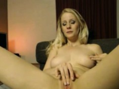Blonde horny milf fingers pussy