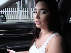 Beautiful big tits Karlee Grey gets spotted and fucked