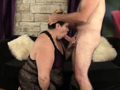 A grey-haired guy sticks his big dick in fat latina's warm