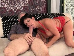 Super horny MILF takes her grey-haired boyfriend's fat dick