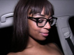 Funny ebony amateur bangs in public